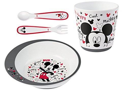 Nuk Mickey Mouse - Set de Vajilla para Niños (9+ meses) con Plato, Vaso , Cuchara y Tenedor