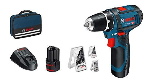Bosch Professional Atornillador a batería (30 Nm, set 39 accesorios, 2 baterías x 2.0 Ah, en maletín de lona
