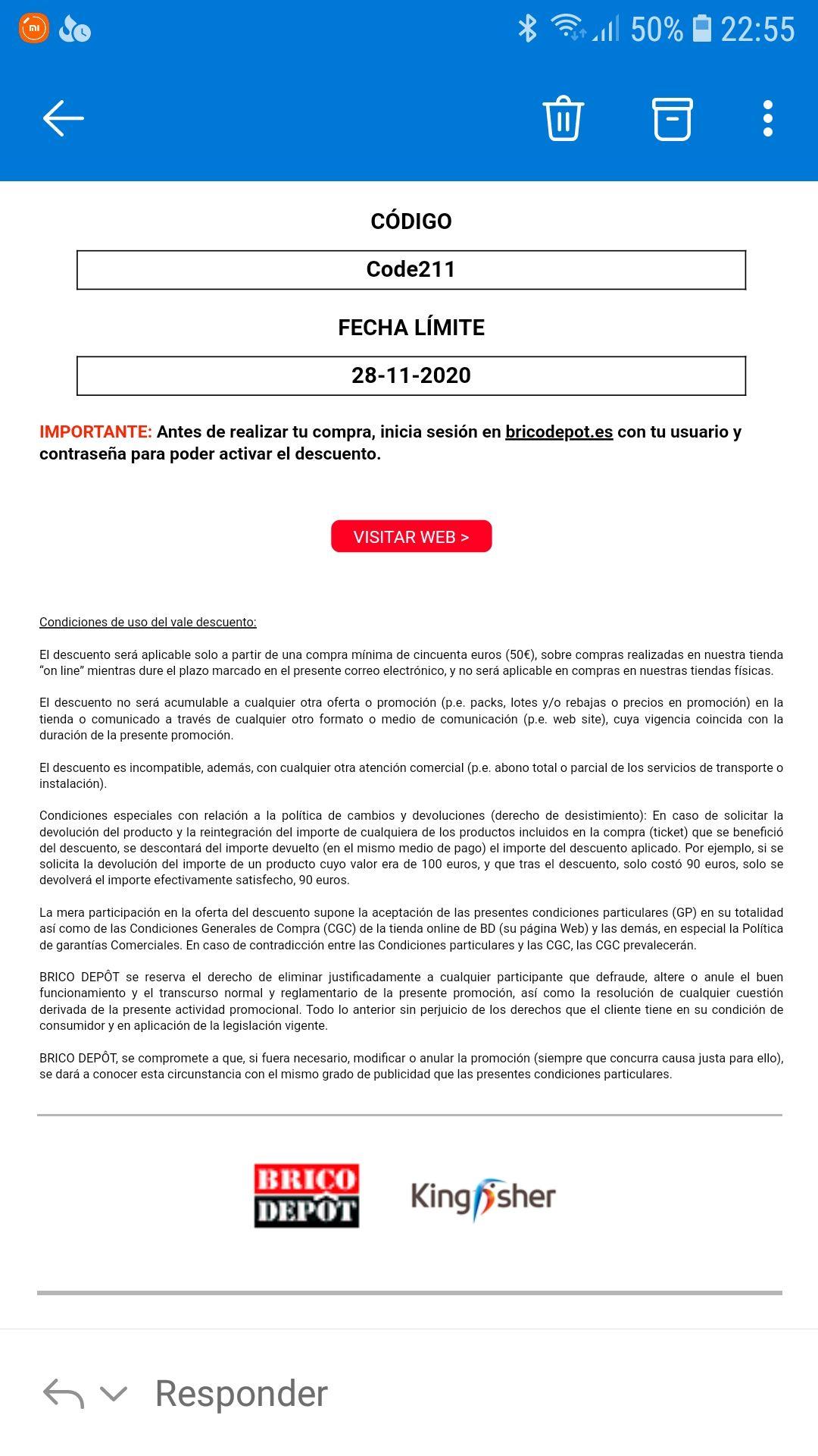 Descuento de 10 euros Pedidos on line