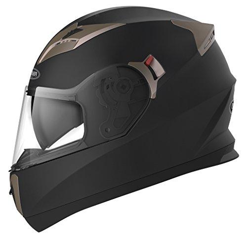 Casco Moto Integral ECE Homologado - YEMA YM-829 Casco de Moto Scooter para Mujer Hombre Adultos con Doble Visera -Negro Mate-XL