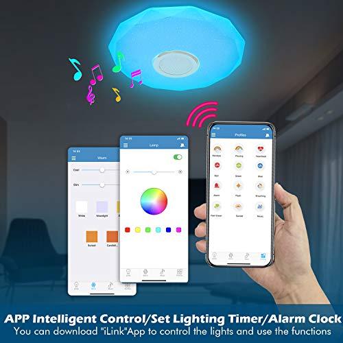 Lámpara LED de Techo Regulable con Altavoz Bluetooth, Mando a Distancia