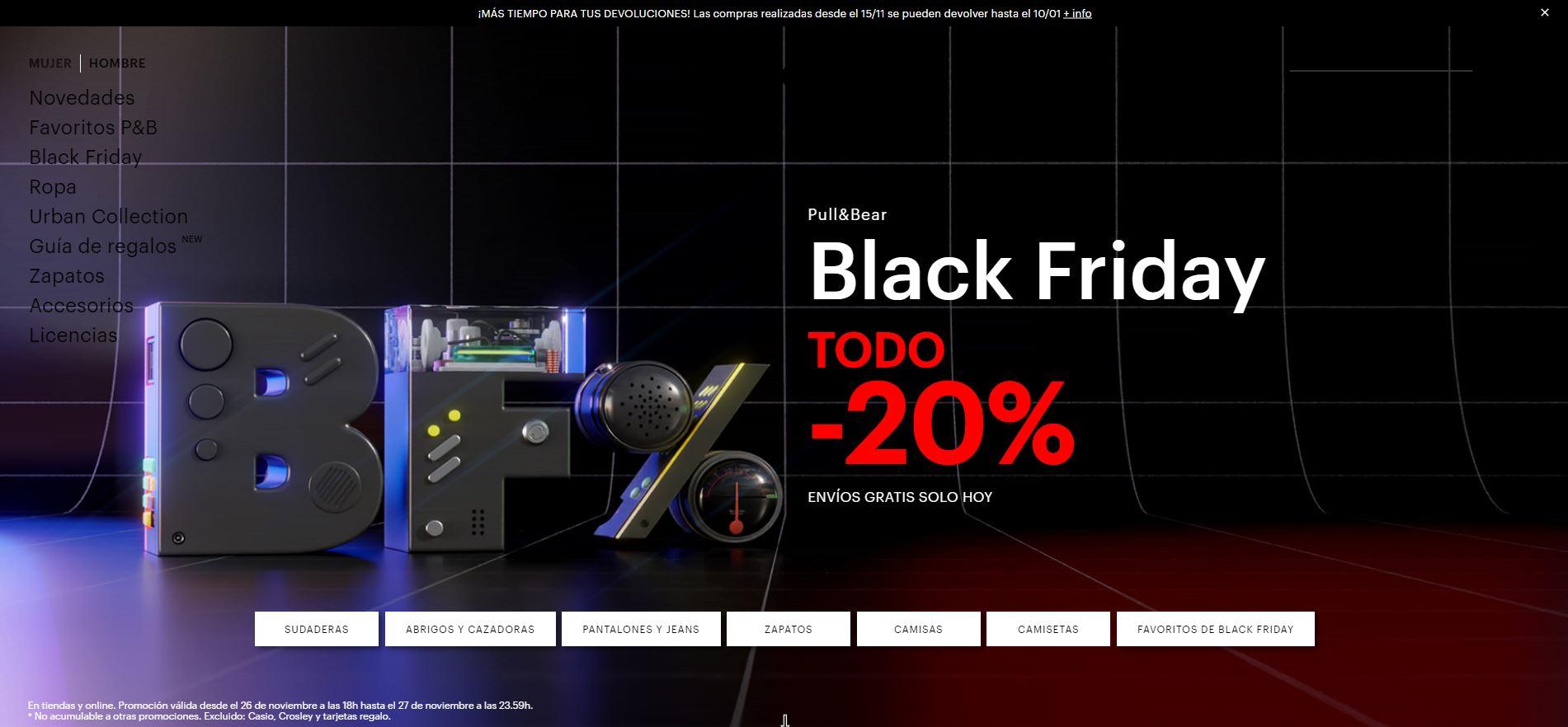ENVÍO GRATIS + 20% de descuento BLACK FRIDAY en Pull & Bear