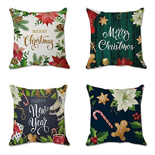 Set de 4 Fundas Navideñas para Cojines,Fundas de Almoha Funda de Almohada navideña Funda de almohada de Navidad 45 * 45 cm