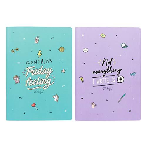 Mr. Wonderful Set de 2 / A4 notebooks-Contains Friday Feeling, Multicolor, Talla única