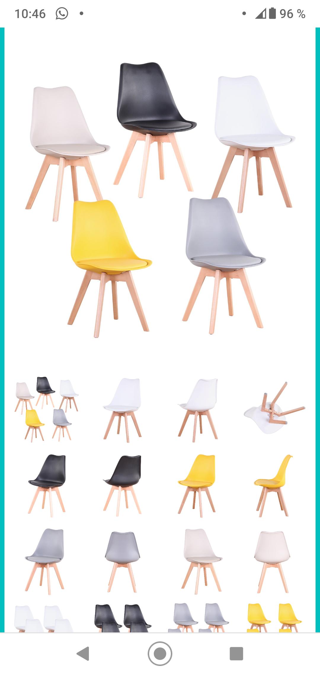 Pack 4 Sillas ultracómodas y de diseño Tulip - asiento acolchado.