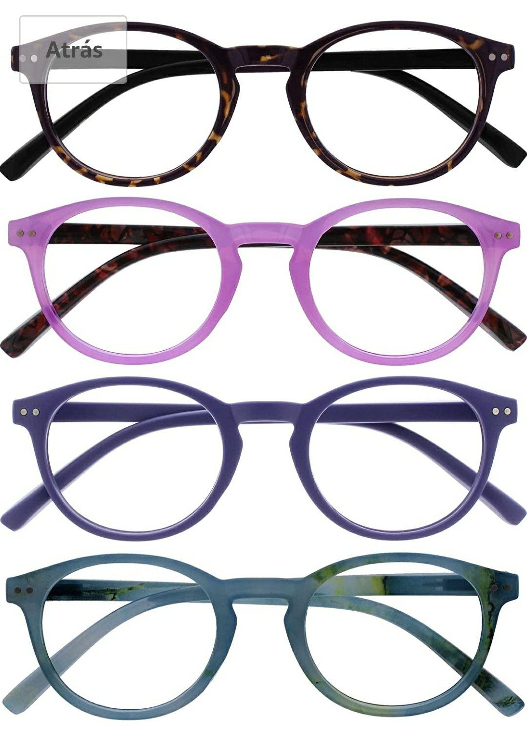 Opulize Zen Pack 4 Gafas De Lectura Oscuro Marrón Rosa Púrpura Turquoise Pequeño Hombres Mujeres RRRR24-245Q +2,00