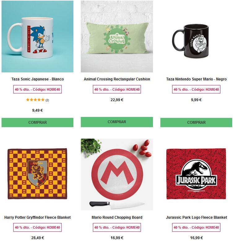 40% descuento en Zavvi en todos los artículos para el hogar (tazas, mantas, botellas) con licencias (Super Mario, Harry Potter, Friends)