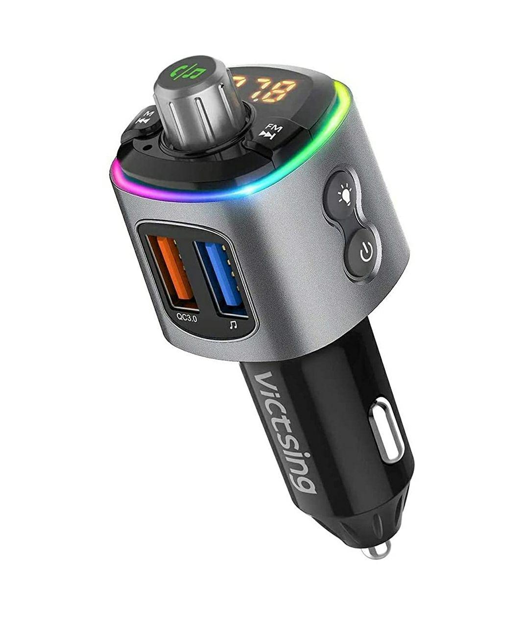 Transmisor FM Bluetooth para el coche con dos puertos de carga rápida