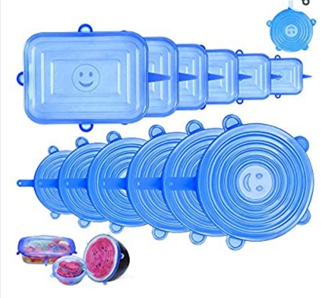 12 PCS Tapas Silicona Elásticas, Tapas Silicona Ajustables Cocina, Reutilizable