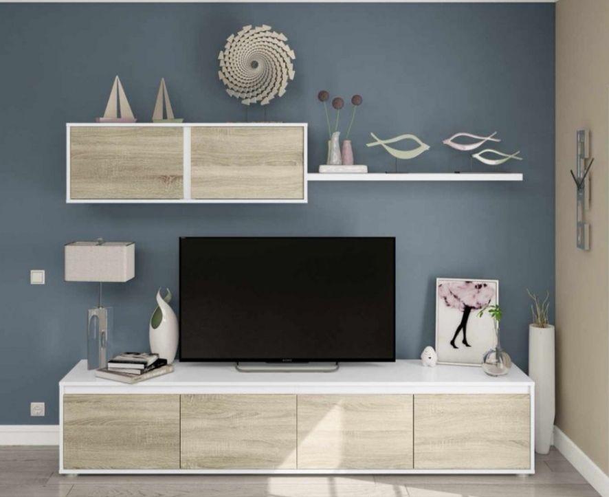 Composición de salón TV: Módulo bajo con cuatro puertas + módulo alto con dos puertas + estante acabado en melamina.