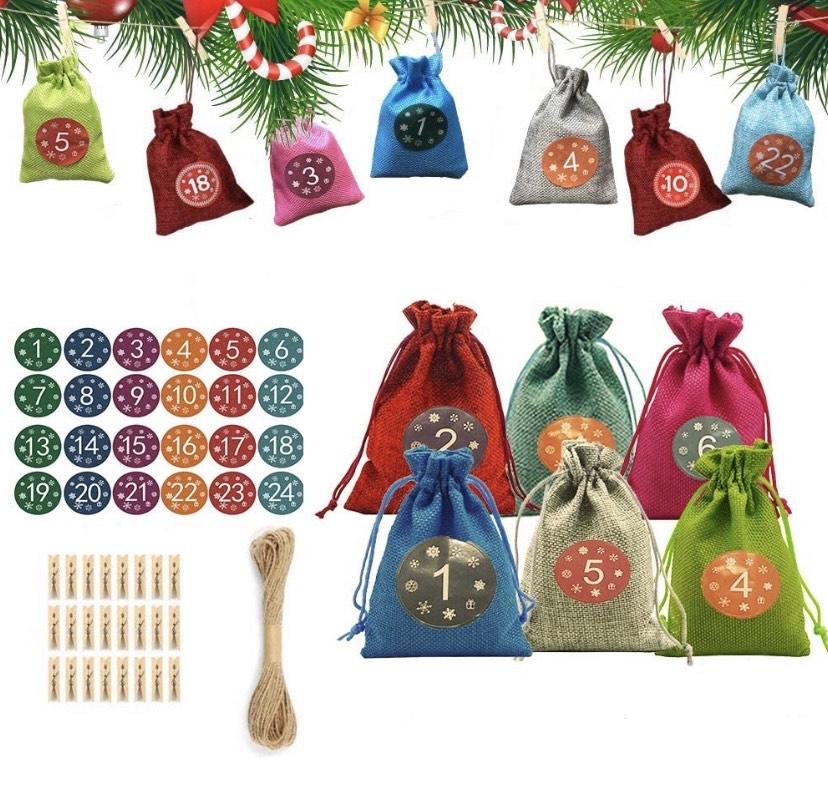 Set de 24 bolsas de regalo para calendario de Adviento