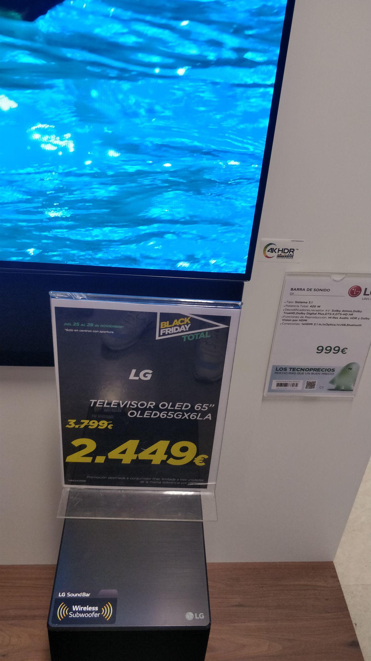 LG OLED 65GX6LA + Sistema 3.1 GX