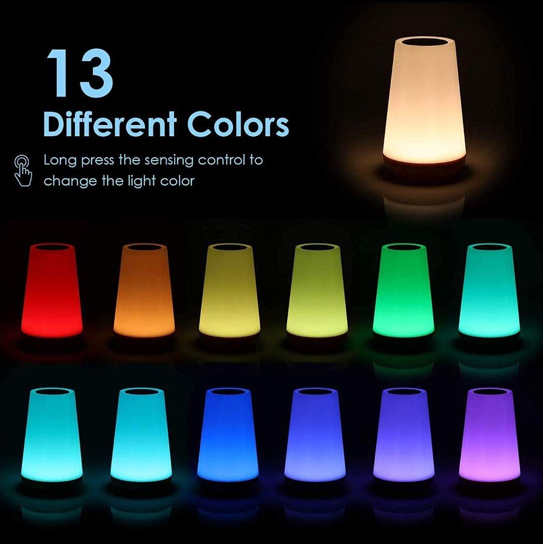 Luz Nocturna LED, Iluminación de Ambiente Interior, Control Remoto y Tactil, Temporizador, USB Recargable, Cambio de 13 Colores