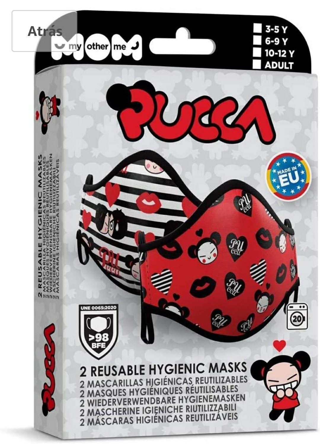 2 mascarillas higiénicas reutilizables Pucca para niños de 10/12 años