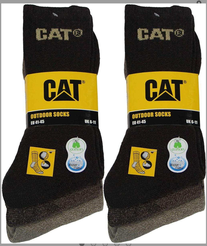 6 pares de calcetines para hombre en algodón suave con control de humedad, puntera y talón reforzados(Caterpillar)(marrón)