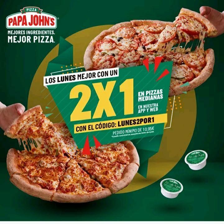 Papa Johns 2x1 en pizza medianas