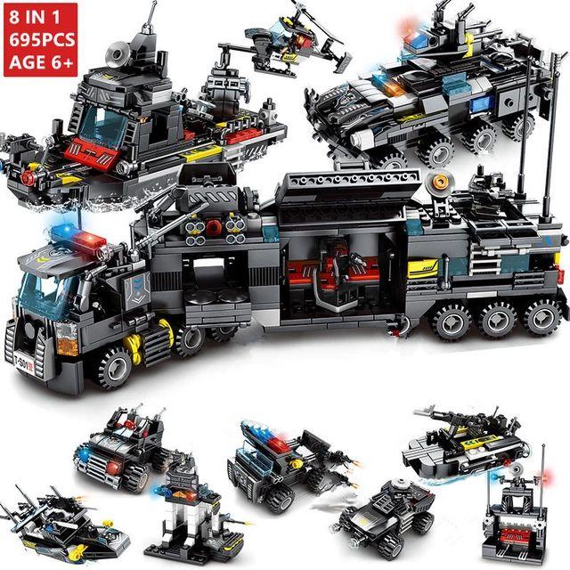 Camión de bloques de construcción SWAT de la policía695 piezas