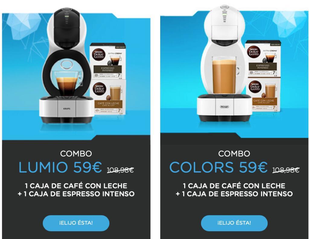 Cafetera Dolce Gusto Lumio o Colors + 2 cajas de café por 59€