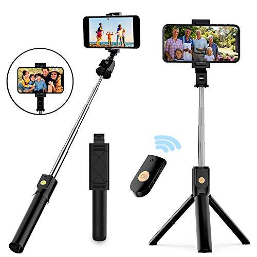Palo Selfie Trípode,mini 3 en 1 palo selfie,selfie stick expandible, con control remoto Bluetooth