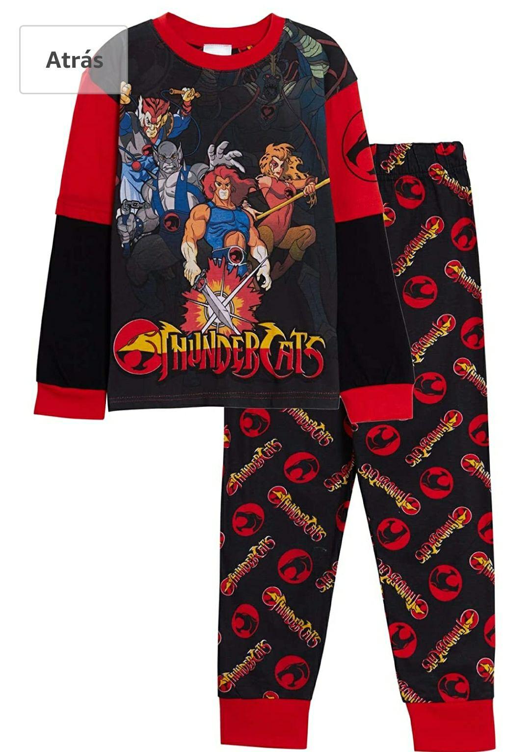 TALLA 11/12 AÑOS - Thundercats Pijama de longitud completa para niños, retro, clásico, superhéroe, 2 piezas