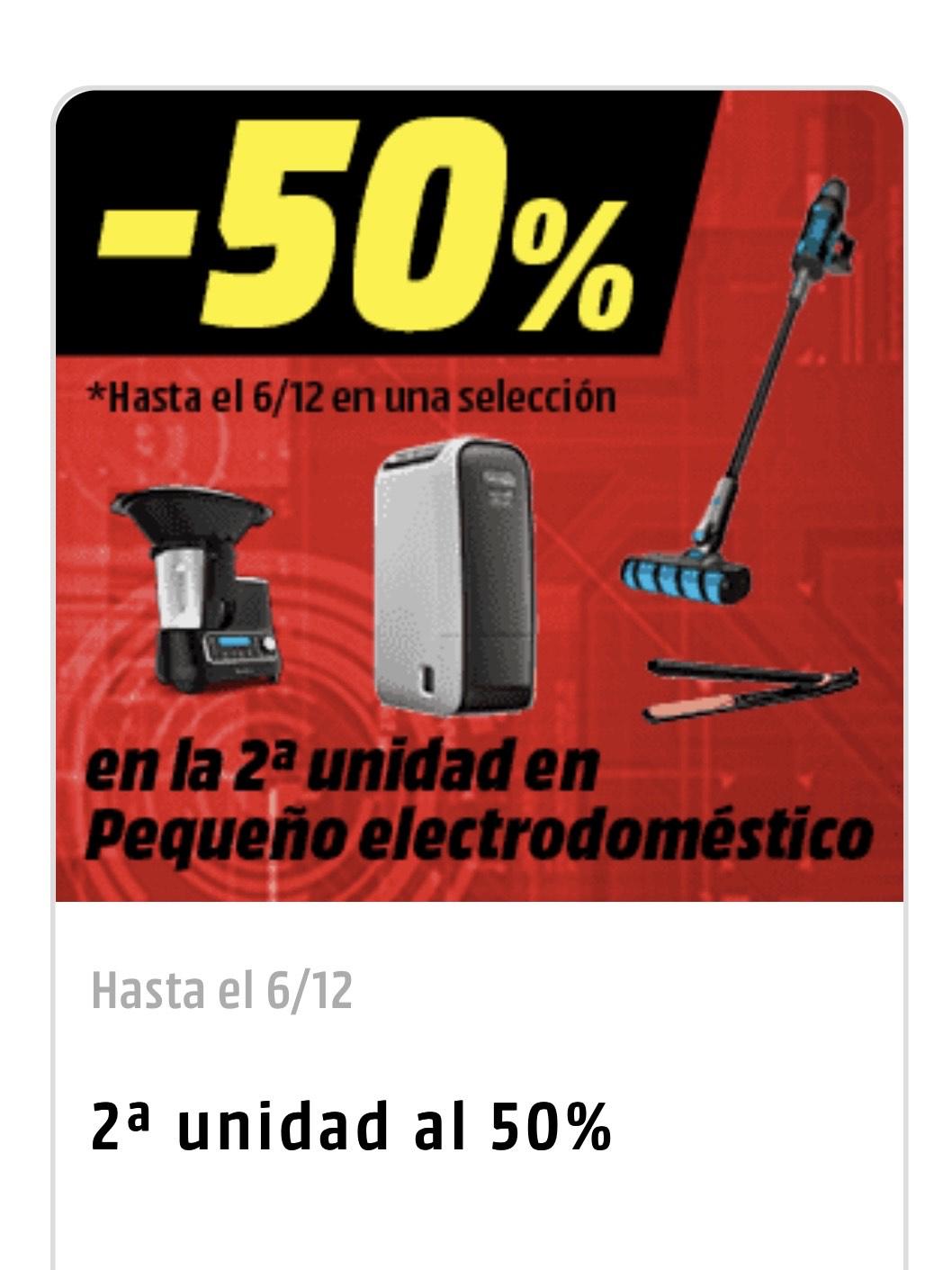 2 unidad al 50% en pequeño electrodoméstico (180 artículos )
