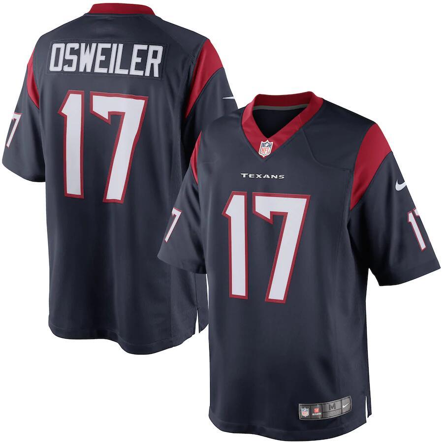 Camiseta para hombre Houston Texans Brock Osweiler Nike Navy Limited NFL