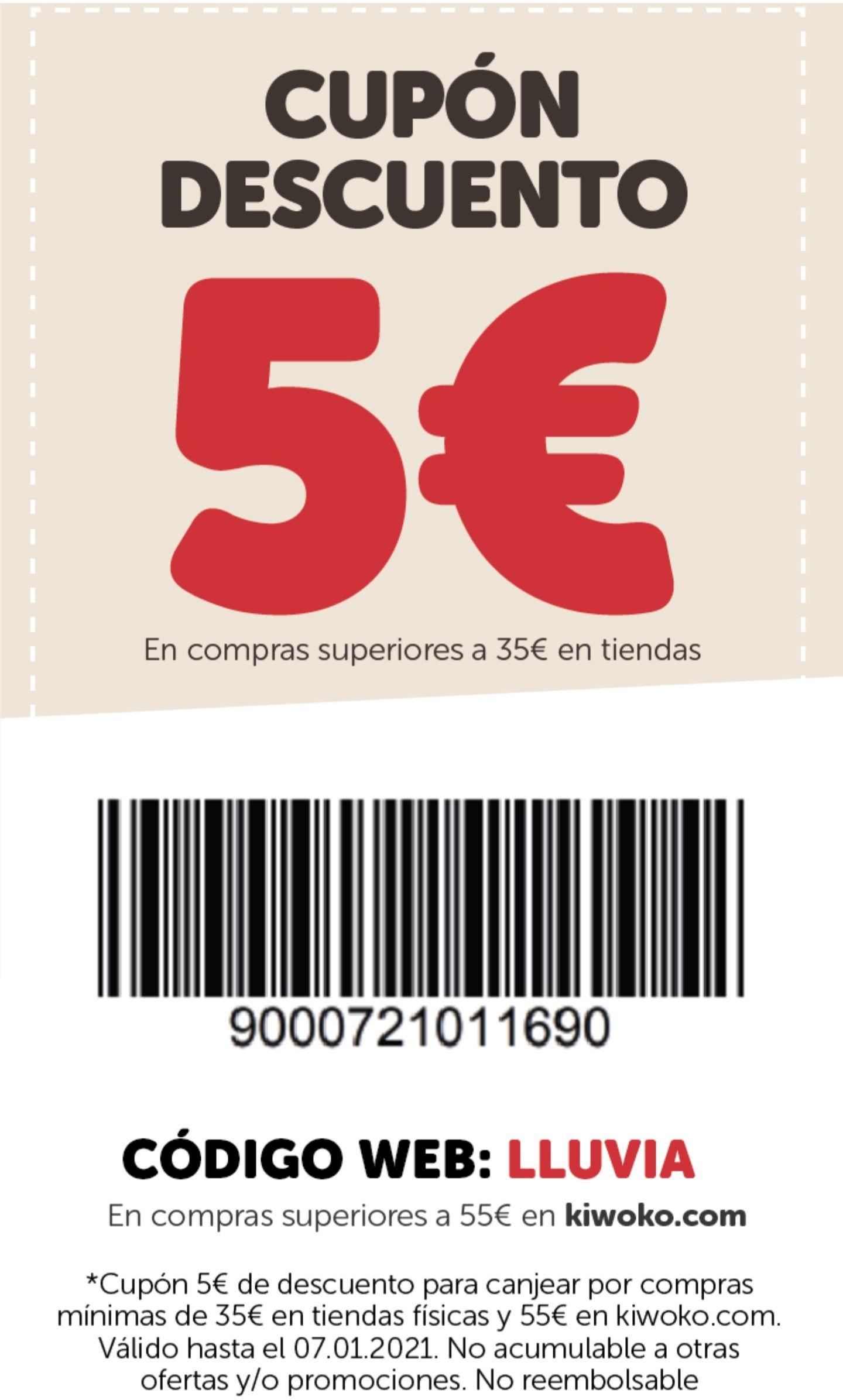 5 euros de descuento en Kiwoko. Con compras minimas. Leer descripción
