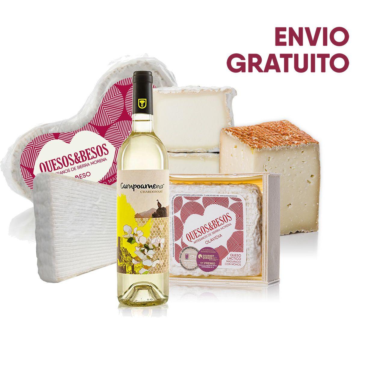 """PACK """"Con queso y vino se hace más ameno el camino"""" + cesta"""