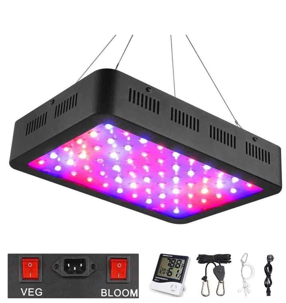 FOCO LED 600W,con doble Interruptor de espectro ajustable+termómetro monitor de humedad.