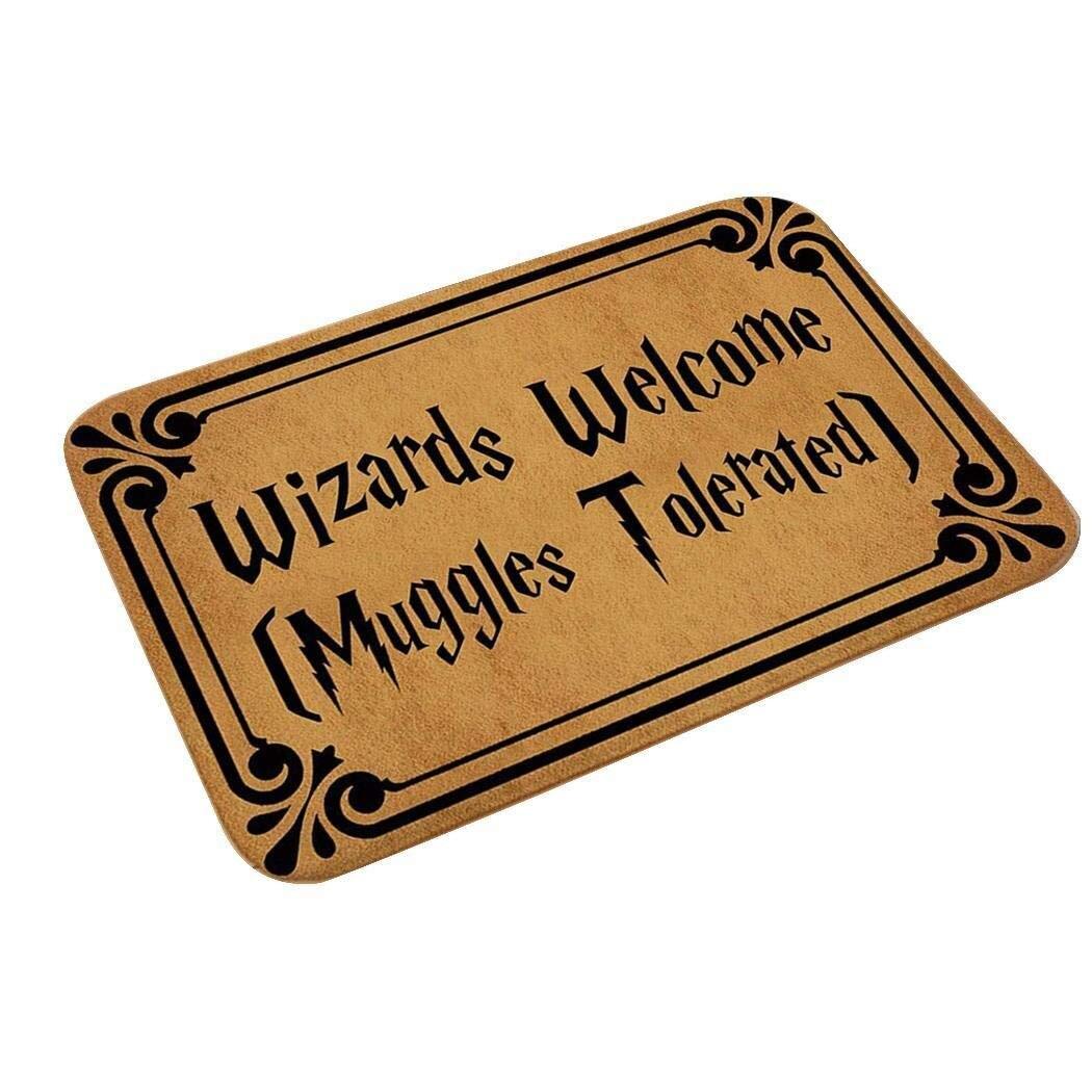 """Alfombrilla Harry Potter (""""Bienvenidos Magos, Muggles Tolerados"""")"""