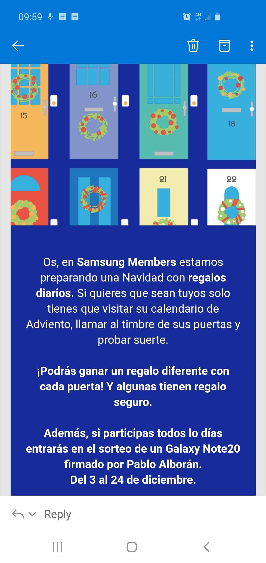 Calendario de adviento en Samsung Members