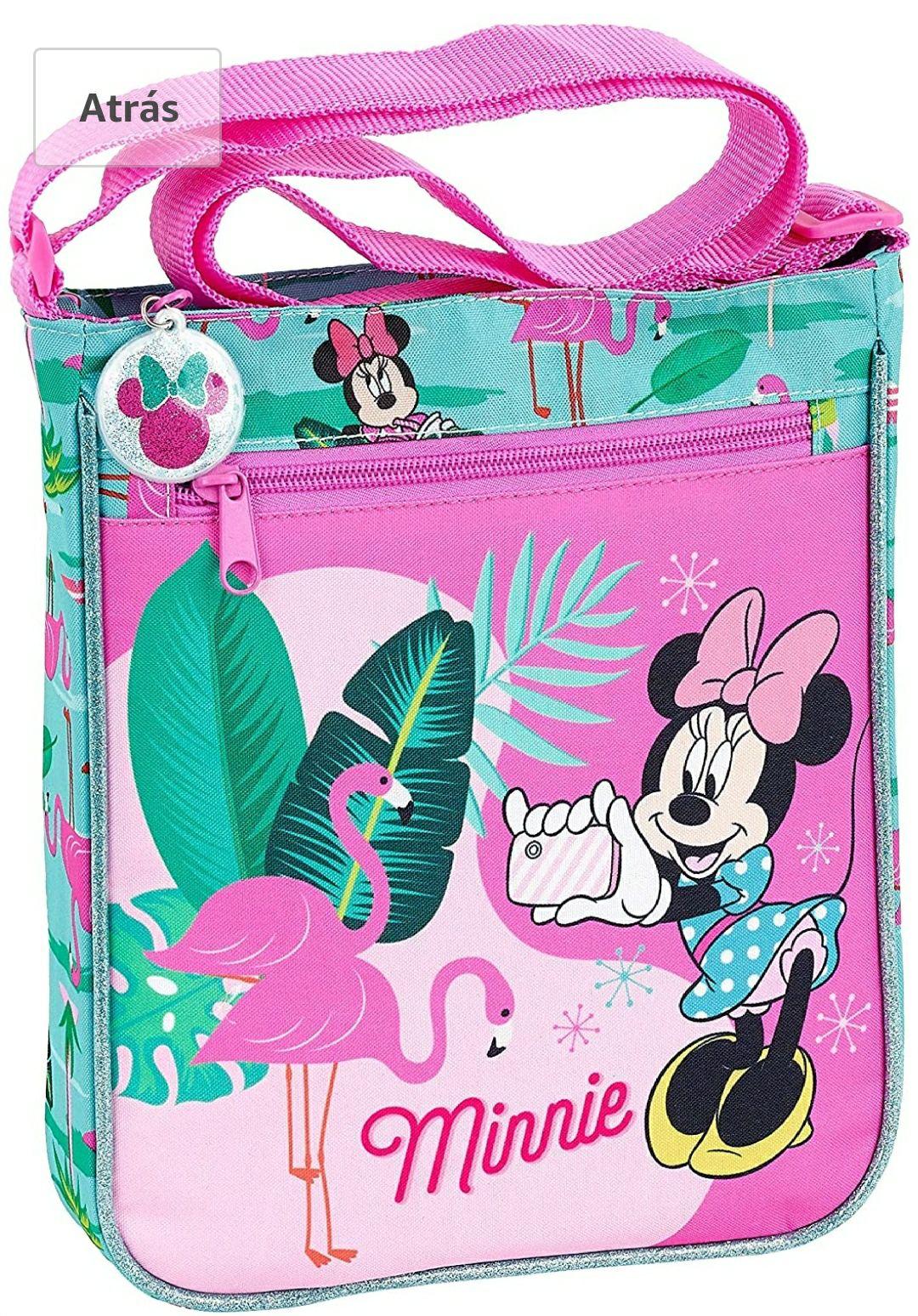 """Safta Bandolera Minnie Mouse """"Palms"""" Oficial Con Bolsillo Exterior 210x45x250mm"""