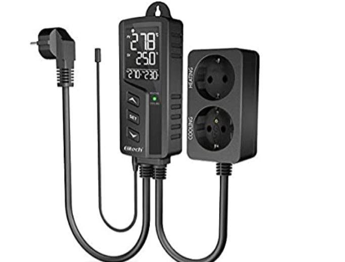 Elitech STC-1000Pro Dual Relay 220v Socket Termostato Digital con Sonda, Controlador de Temperatura de Enfriamiento y Calefacción