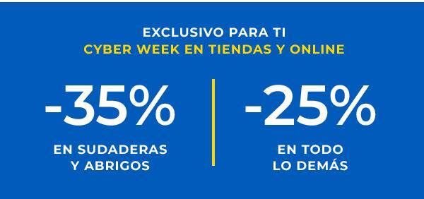 -35% en Sudaderas y Abrigos, -25% en todo lo demás y hasta -50% en prendas seleccionadas