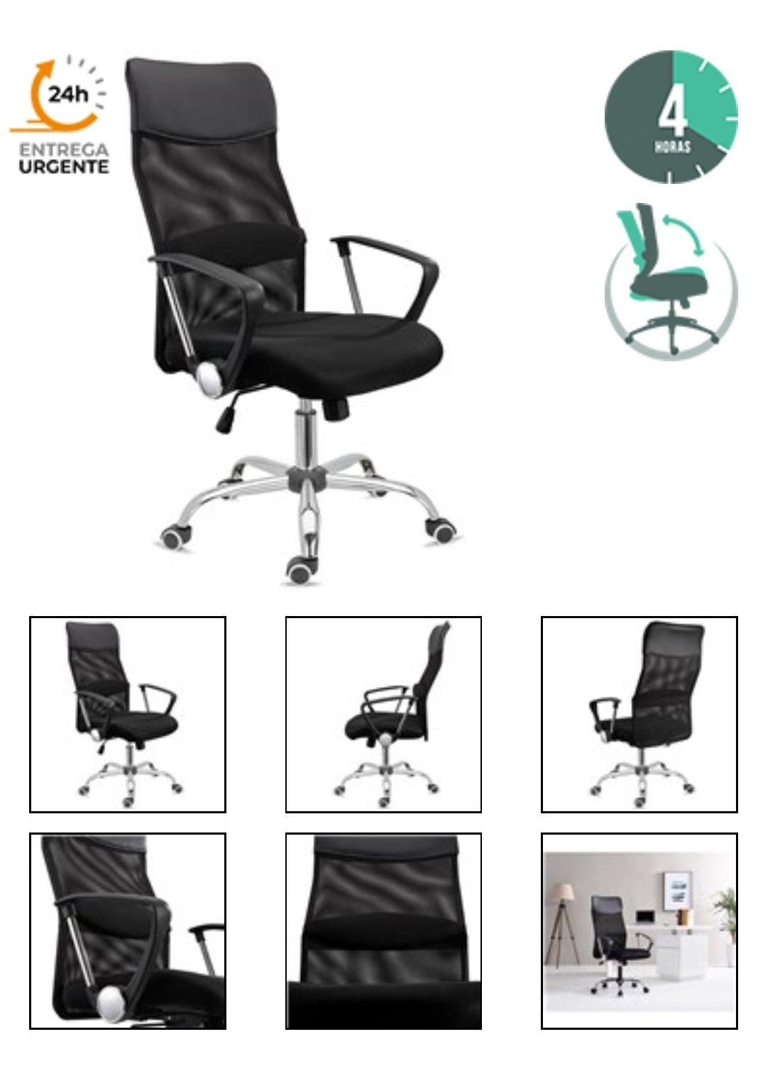 Silla de Oficina ASPEN, Malla Transpirable, asiento acolchado y Precio increíble, Color Negro