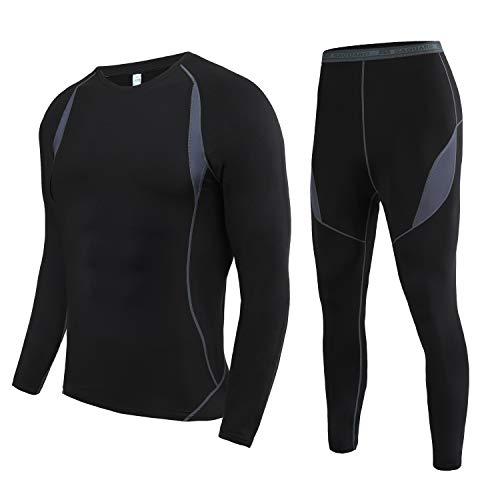 Conjunto de ropa interior térmica para hombre - 3 Colores VERDE-GRIS - NEGRO