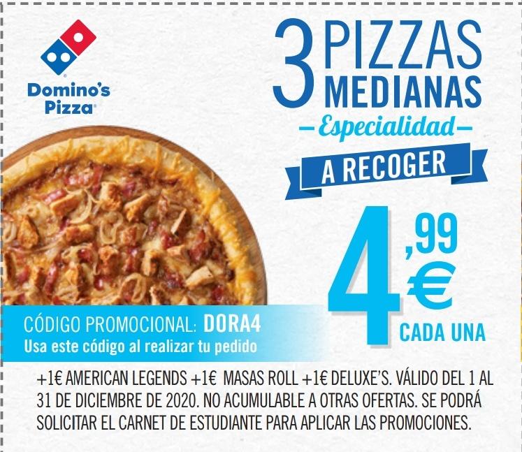 3 Pizzas Medianas a 4,99€ c/u