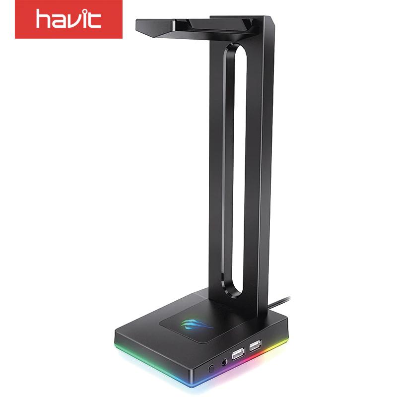 HAVIT RGB con AUX de 3,5 mm y 2 Cargador USB Soporte para Auriculares