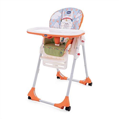 Chicco Polly Easy - Trona amplia, compacta y sencilla, 4 ruedas, para niños de 6 meses a 3 años, color naranja