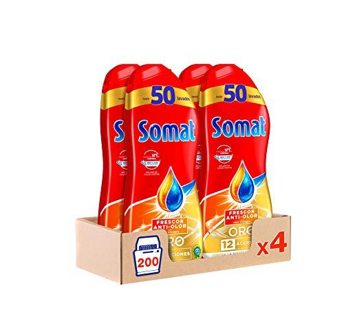 Somat Oro Gel Lavavajillas Vinagre – Pack de 4, Total: 200 lavados (3.6 L)