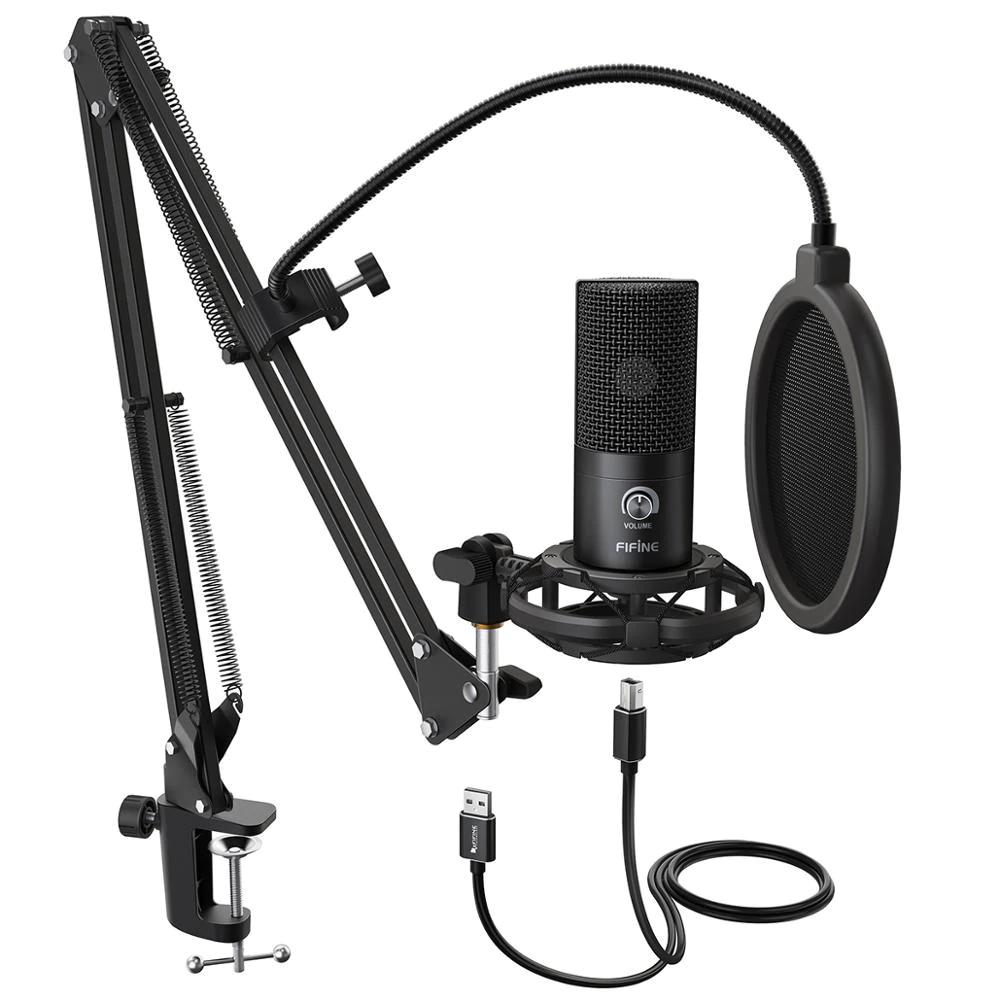 FIFINE-Kit de micrófono con condensador USB para estudio