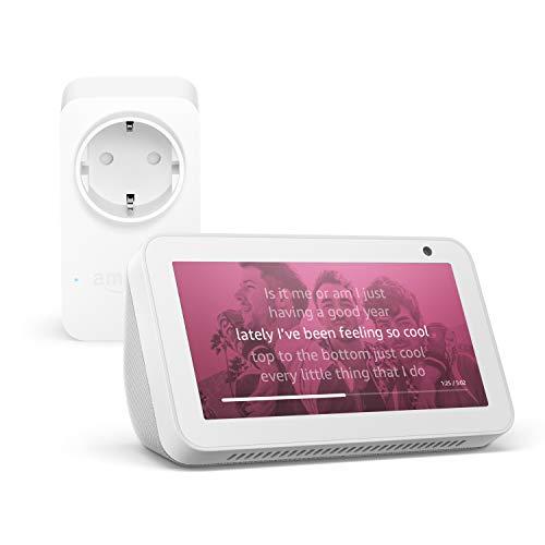 Echo Show 5, Blanco + Amazon Smart Plug (enchufe inteligente wifi), compatible con Alexa