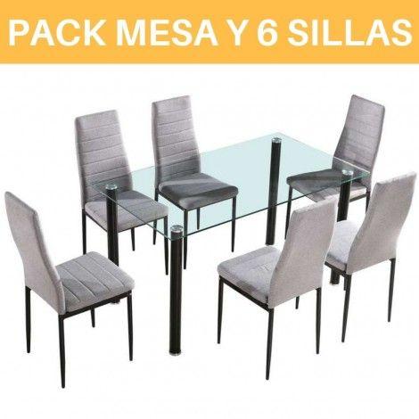 Conjunto mesa cristal + 6 sillas