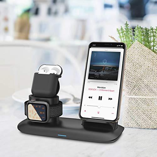 Bossgo Cargador inalámbrico, Estación de Carga Rápida Qi Inalámbrica 3 en 1 para iPhones