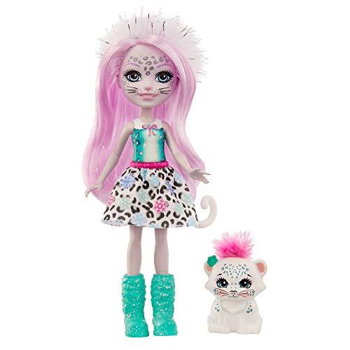 Enchantimals, Muñeca con mascota Sybill Snow Leopard y Flake