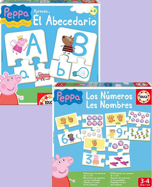 """EDUCA BORRÁS: Puzzles asociativos con Peppa Pig """"Aprendo los números"""" y """"Aprendo el Abecedario"""" por 4,89€ cada uno"""