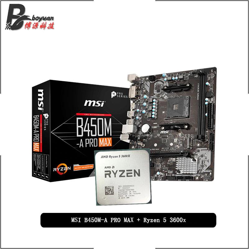 AMD-CPU AMD Ryzen 5 3600X R5 3600X, MSI B450M A PRO MAX, juego para placa base, AM4 CPU, traje sin disipador de calor