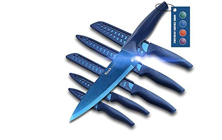 Wanbasion Azul o Negro Juego de Cuchillos de Cocina