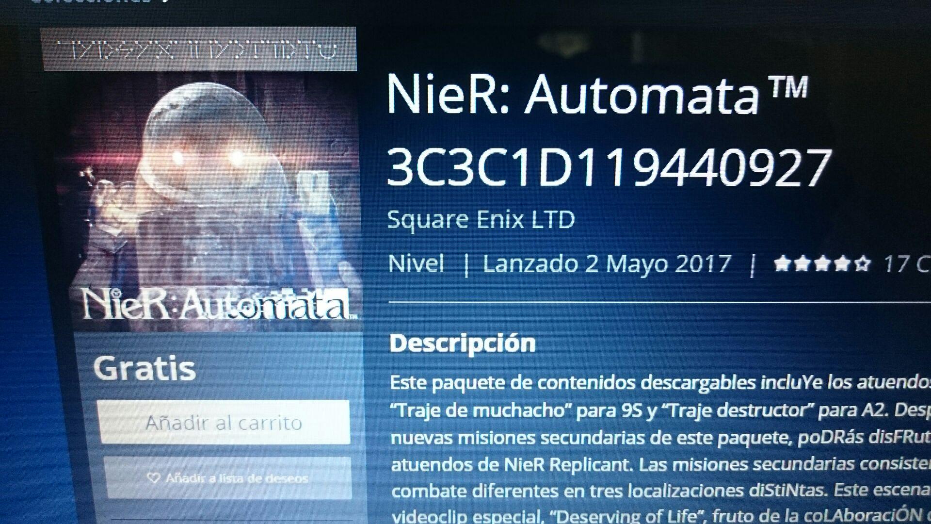 DLC Nier Autómata PS4 gratis