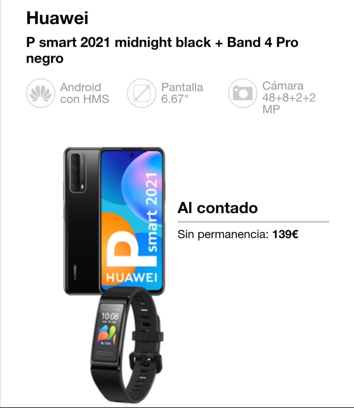 Huawei P smart 2021 midnight black + Band 4 Pro negro